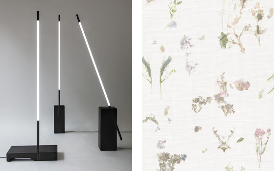 Left: Nero lights by Morgan Ruben and right Bloom Inks for Dutch Wall Textile Co. by Bo Reudler